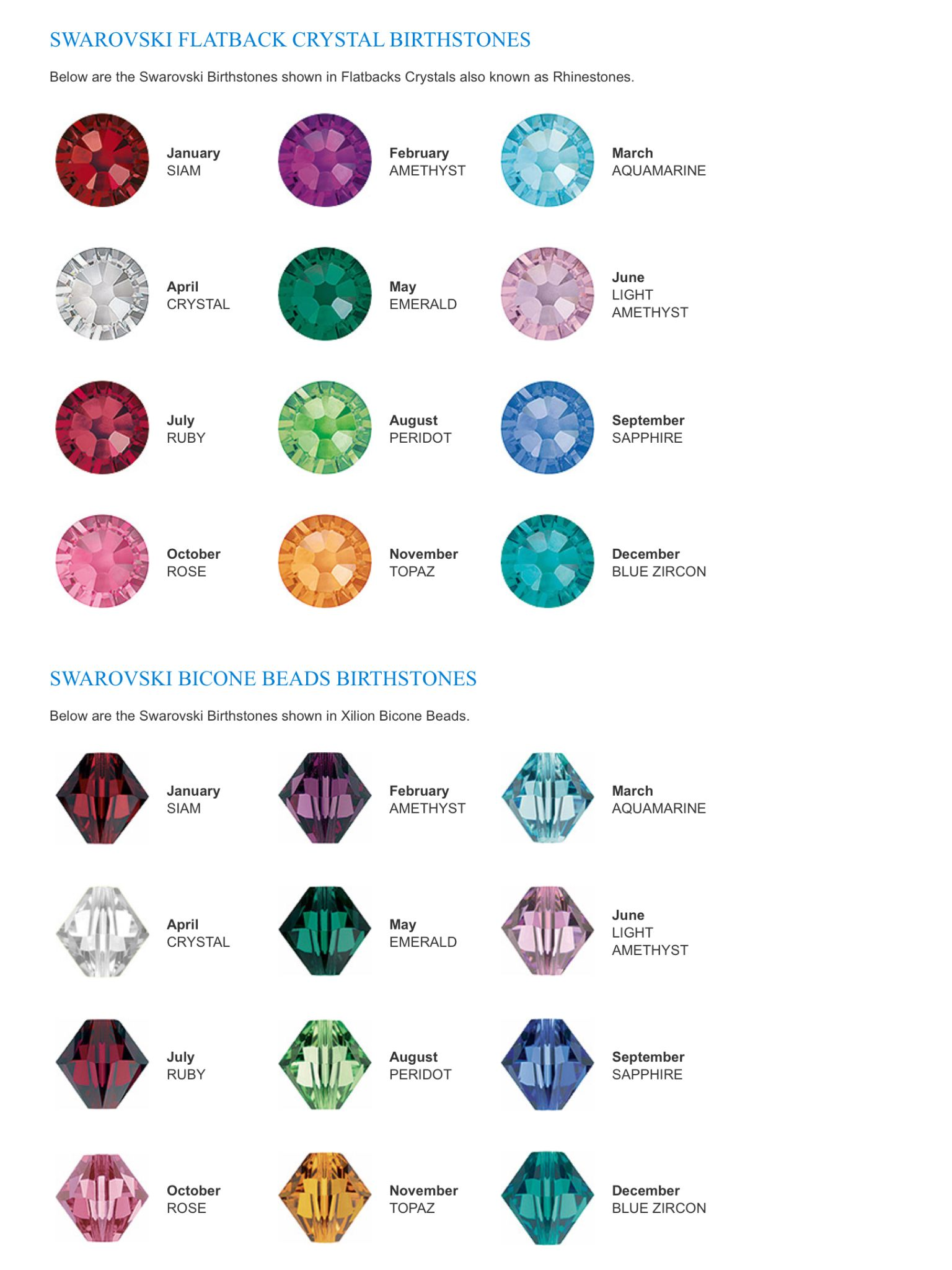 Swarovski Birthstone Bead Colors Jewelry Reference Charts