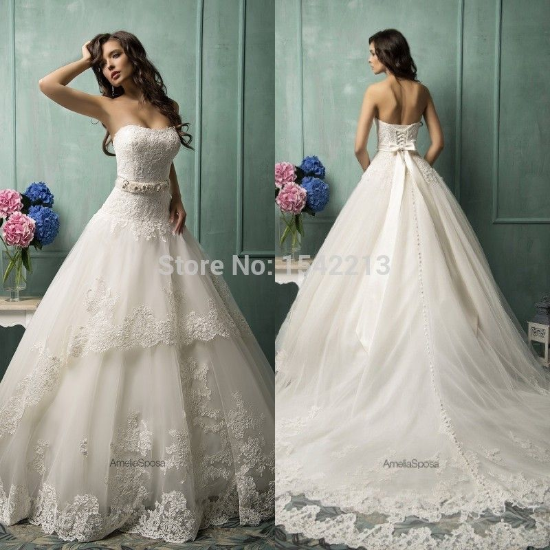 Find More Wedding Dresses Information About Fashionable Amelia Sposa Bridal Gowns Sweetheart