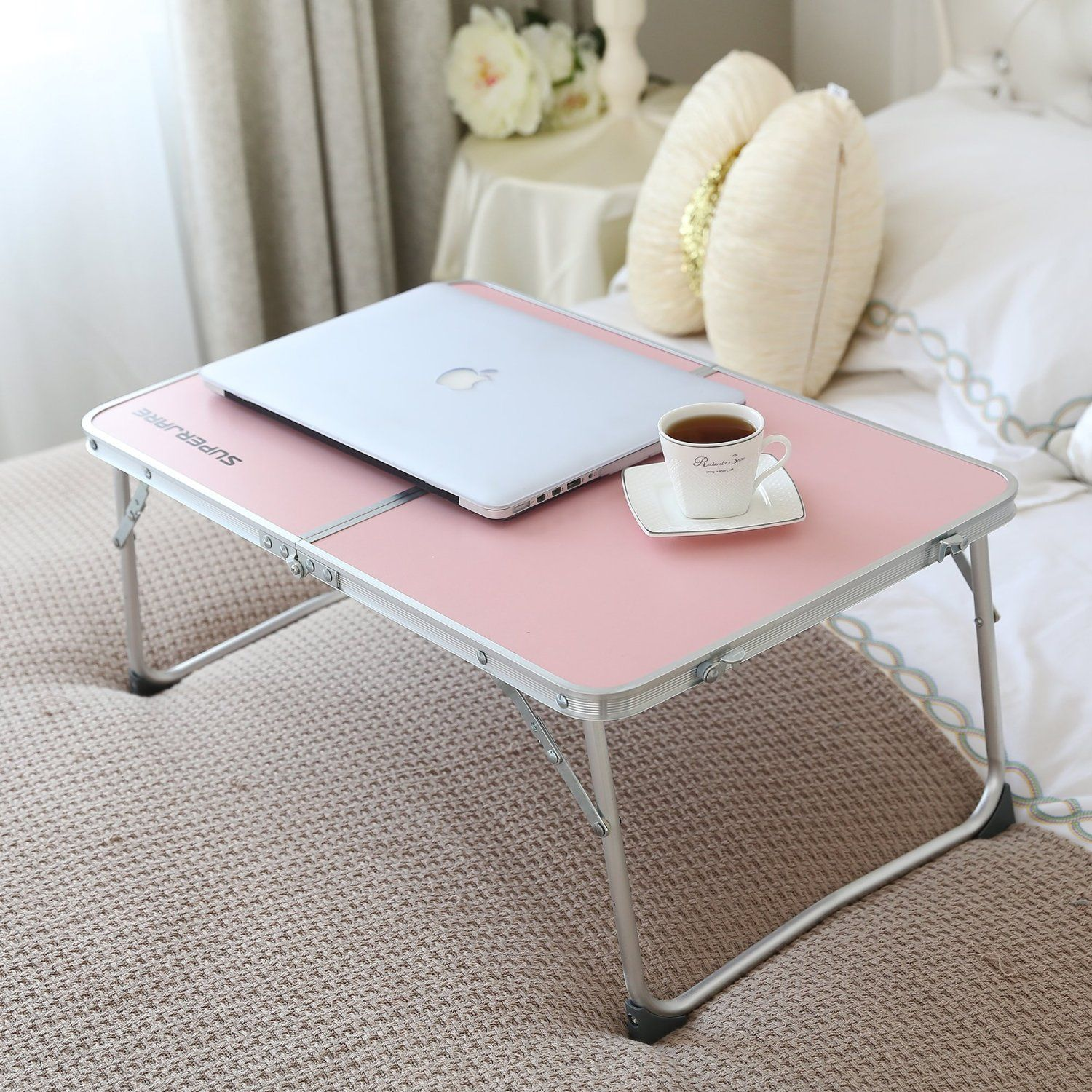 #USUMoveIn : Superjare Folding Laptop Desk Portable Table Breakfast Bed Tray  Pink 70901P : Office