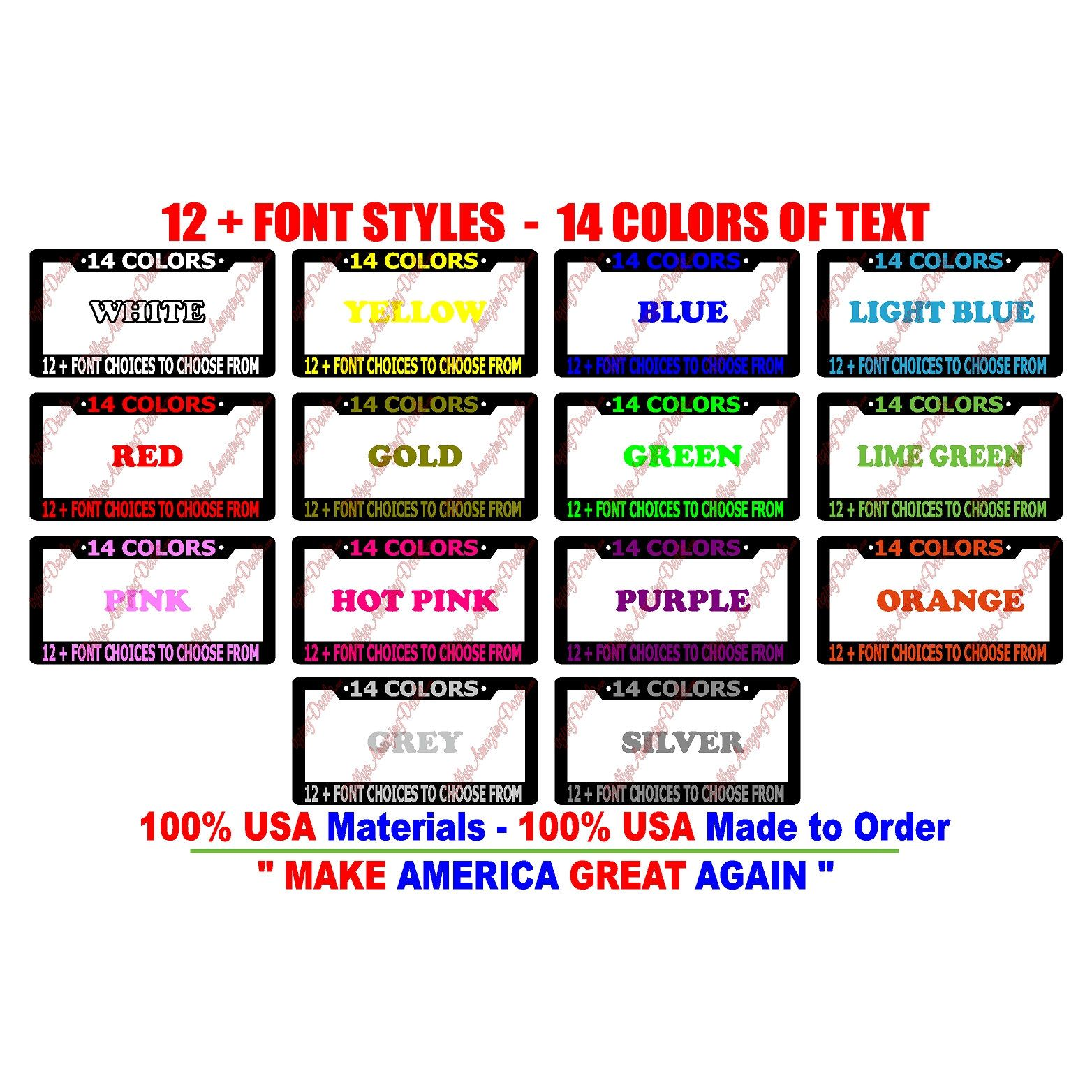 Custom Personalized License Plate Frame Your Text Vinyl Decal Auto Graphics