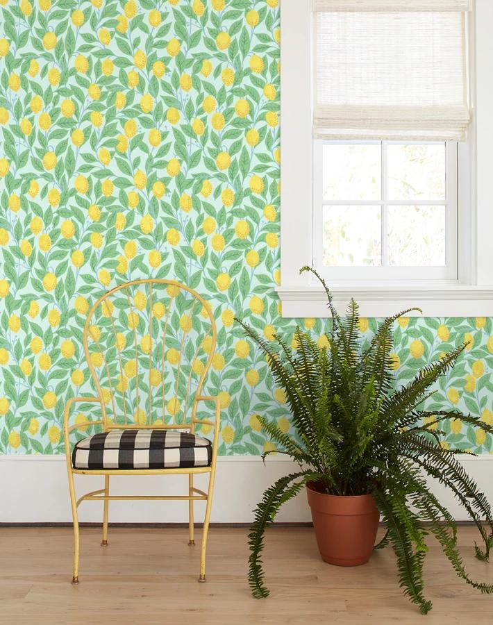 Lemons Robins Egg Wallpaper Roll Removable Wallpaper Traditional Wallpaper