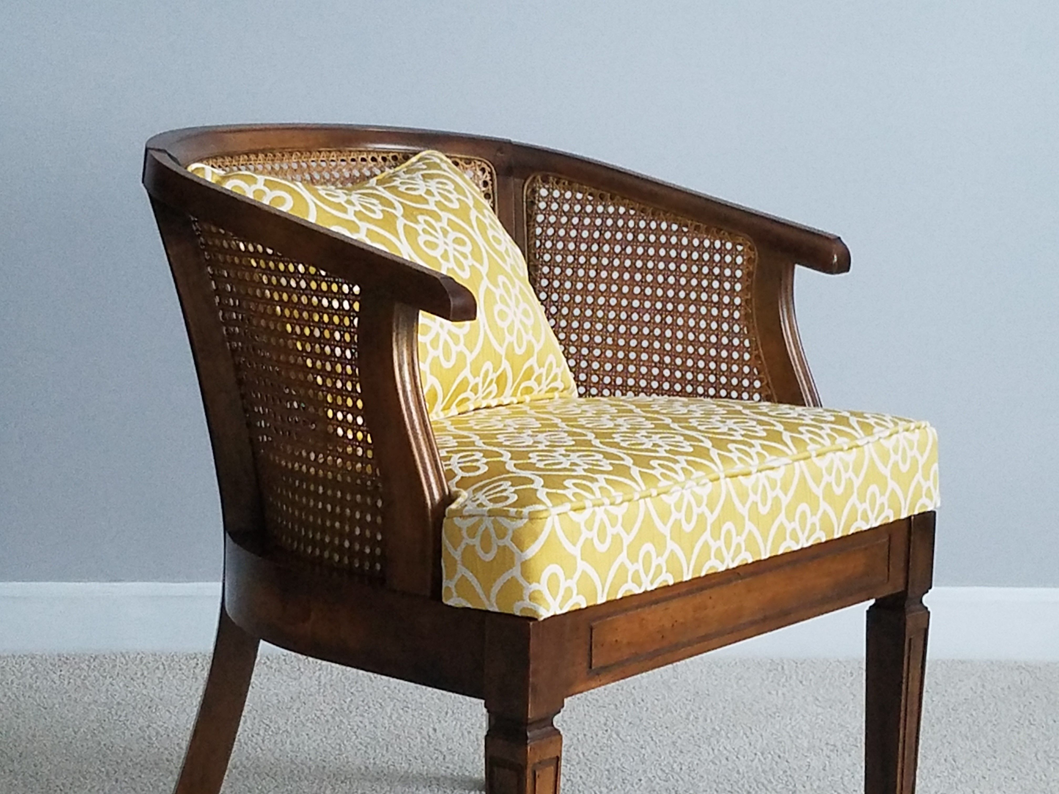 Cane back with color mid century accent chair mid