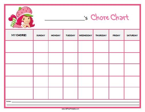 Strawberry Shortcake Chore Chart Training Pinterest - child reward chart template