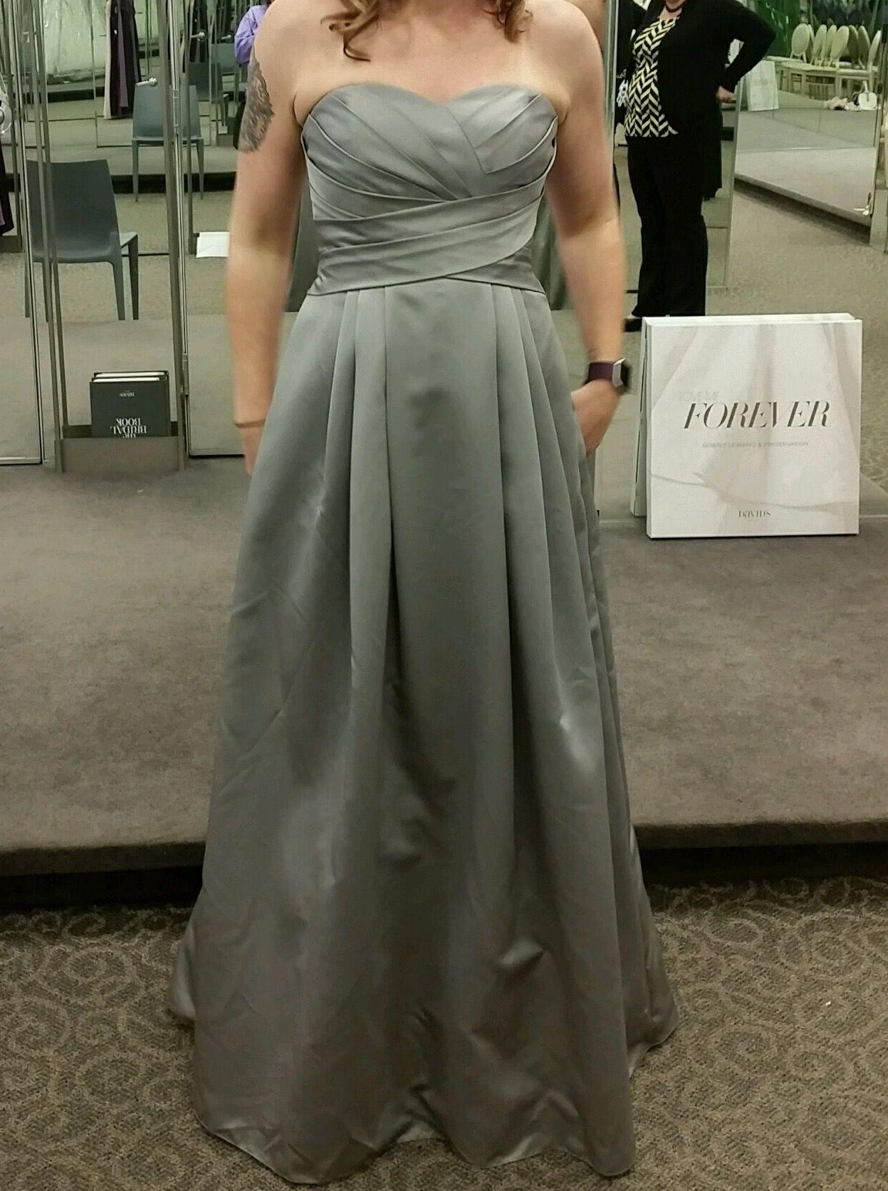 Mercury Satin Ball Gown Bridesmaid Dress Davids Bridal Style F15554: David Wedding Bridesmaid Dress Corset Back At Reisefeber.org