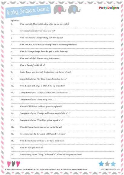 Free Printable Nursery Rhyme Quiz - Kinderdagverblijven, Quizzen - free printable quiz