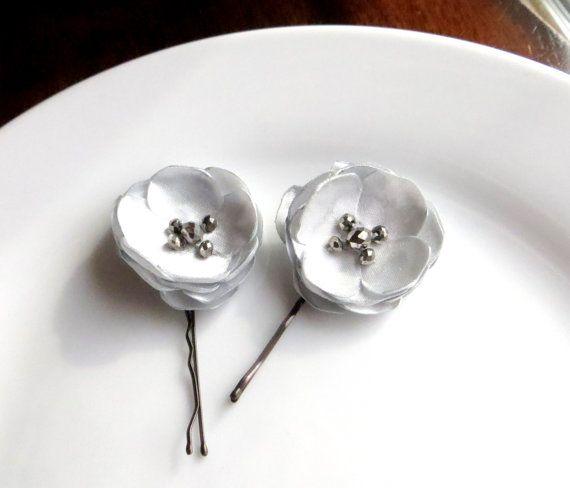Pleasant Platinum Silver Hair Pins Dressy Bobby Pins Small Silk Flower Short Hairstyles For Black Women Fulllsitofus
