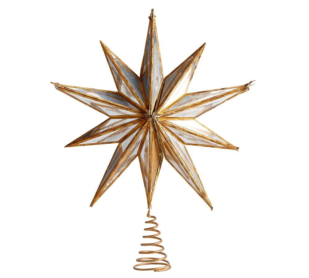 Mirrored Star Topper Gold Small Christmas Tree Star