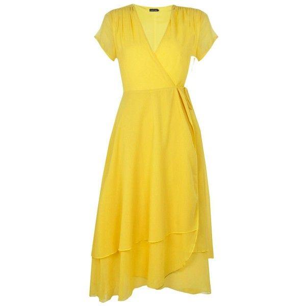 Boohoo Gracie Chiffon Cap Sleeve Ruffle Midi Dress (1.770 RUB) via Polyvore featuring dresses, bodycon party dresses, bodycon midi dresses, jersey maxi dress, midi dress и yellow maxi dress