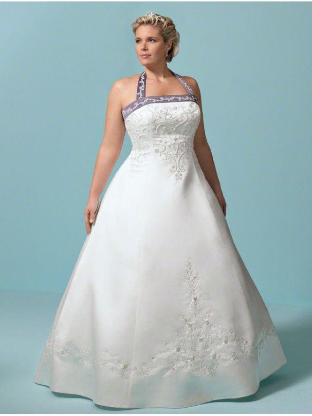 A-line Strapless Halter Chapel Train Plus Size Wedding Dresses ...