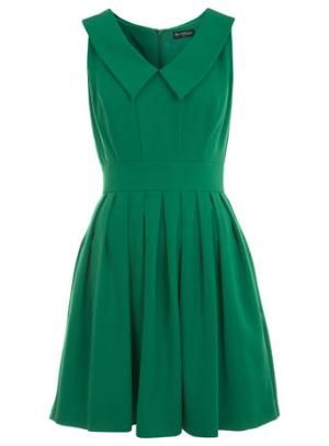 Green Collar Skater Dress - Dresses - Clothing - Miss Selfridge