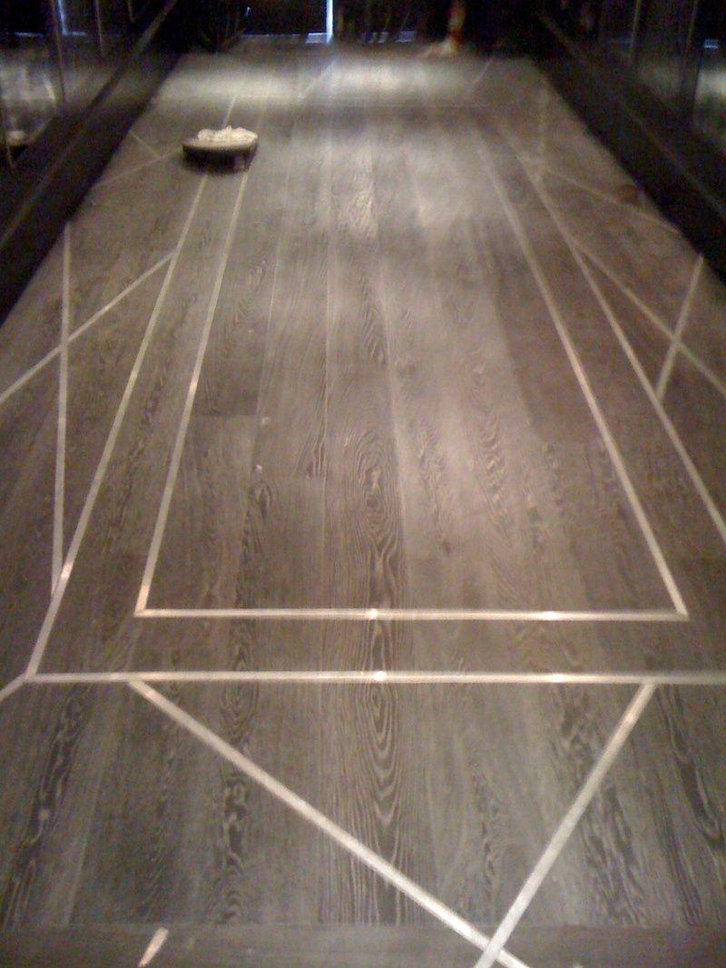 Wood Floor With Metal Inlay Design Detail Flooring