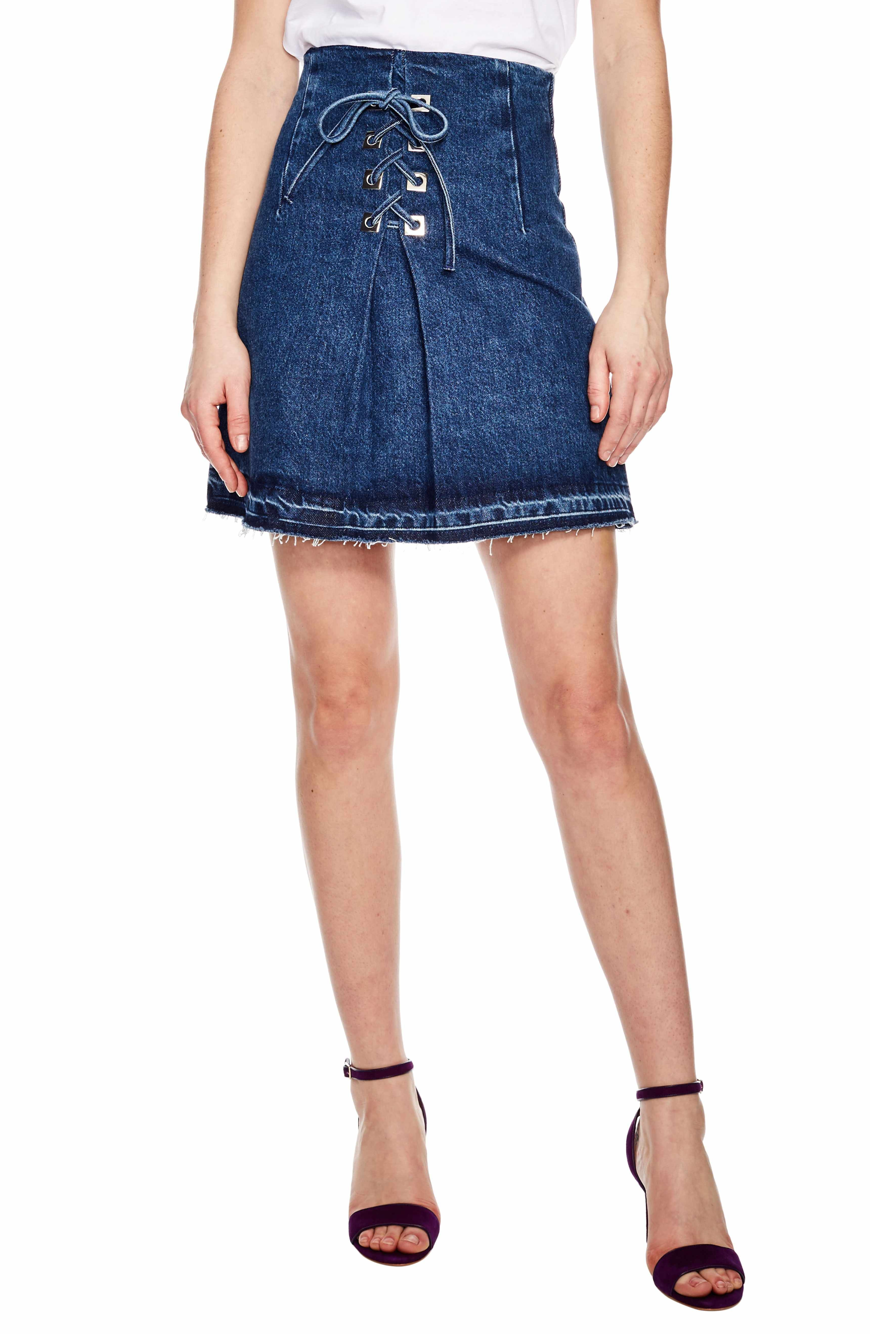 9bc7ec3914 Main Image - sandro Blue Vintage Denim Mini Skirt | Jeans in 2019