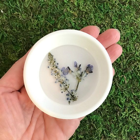 Pressed Wedding Flowers: Pressed Flower Ring Dish Trinket Real Purple Salvia