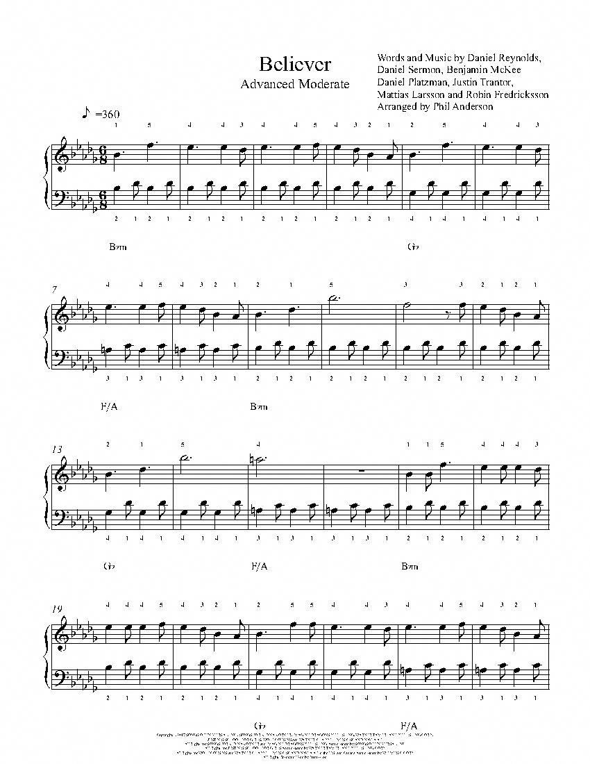 Believer By Imagine Dragons Piano Sheet Music Advanced Level