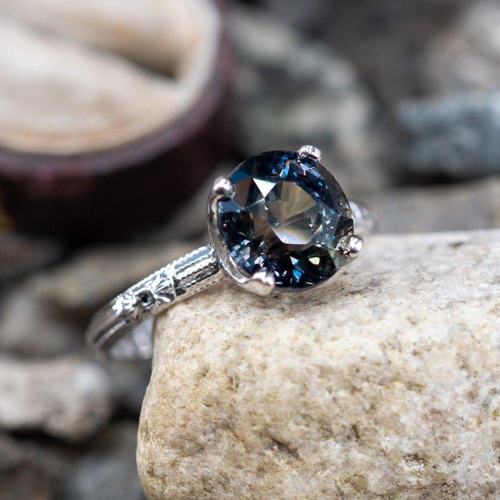 5 Carat No Heat MultiColor Sapphire Engagement Ring 18K