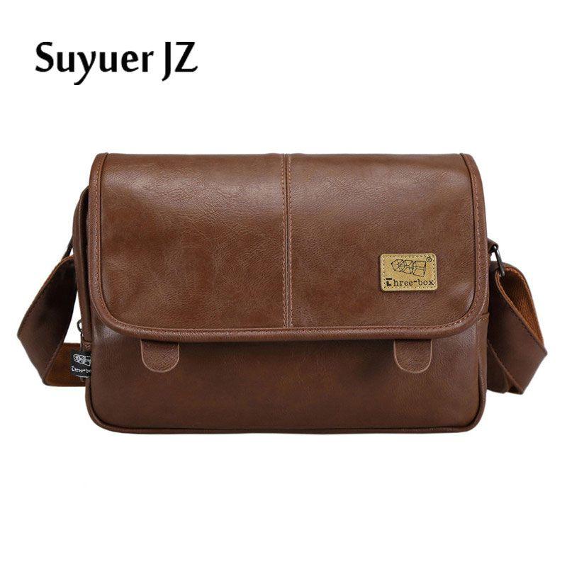 12b2eac2aebf Suyuer Brand Bag Fashion Satchel Men Shoulder Bag PU Leather Travel ...