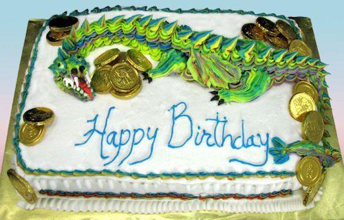 A rich dragon birthday cake, yum!