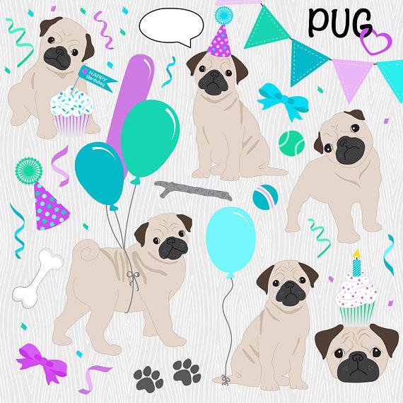 Birthday Card Clipart Pug Clipart Cute Digital Papers Cute