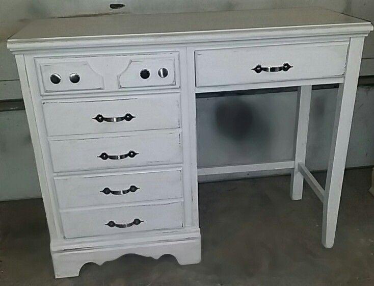 White distressed desk.