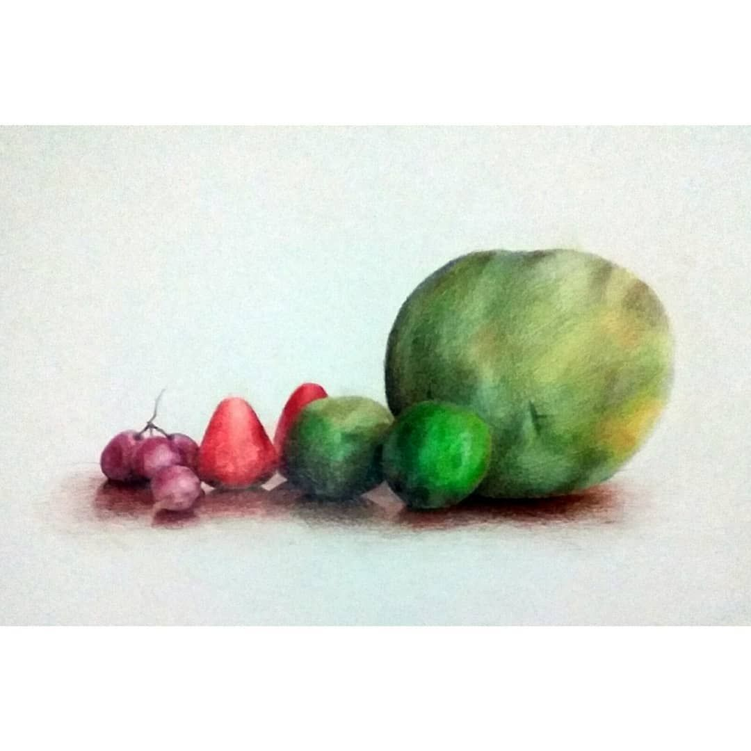 Pruids Gambar Alam Benda Still Life Watercolor Pencils On A3 Paper