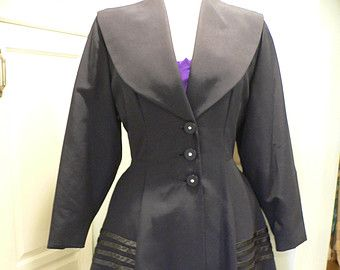 Beautiful 1950s  Princess Coat - Dark Navy Faille with Detailing by Lady Barrington