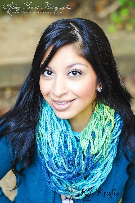 Photo of Neon Blue and Green Scarf – Knit Infinity Scarf – Infinity Scarf – Lightweight S…