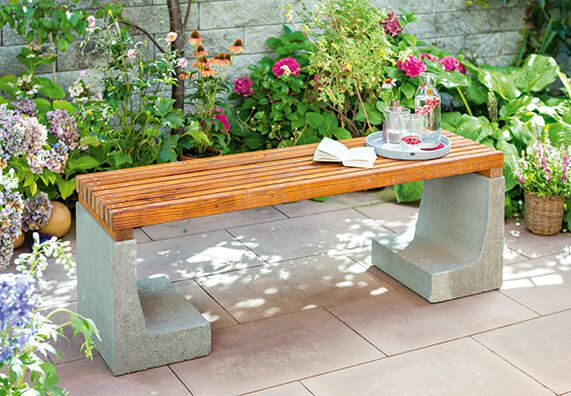 Holz Beton Bank Im Garten Mit Bildern Gartenbank Selber Bauen