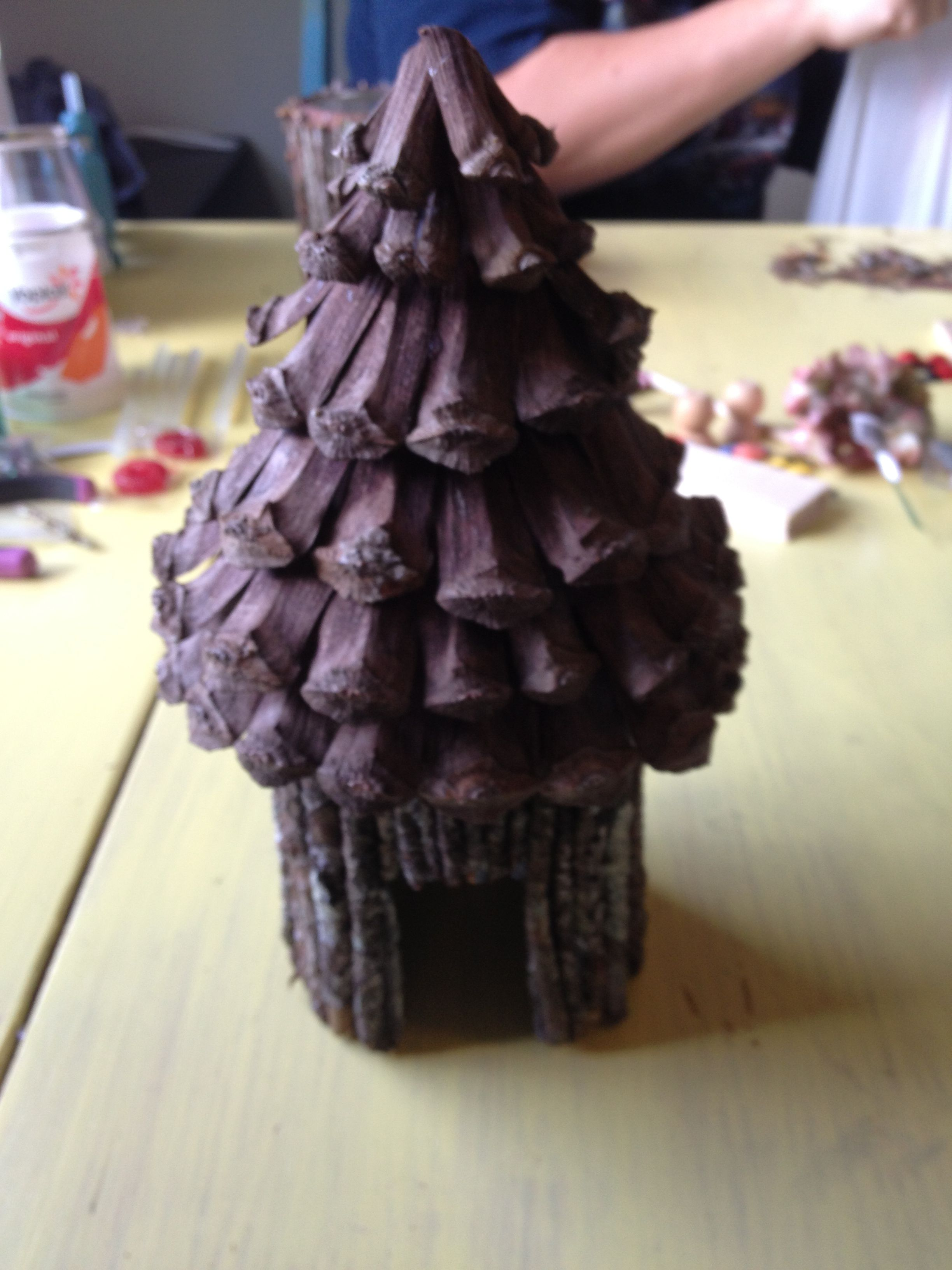 Fairy house tin can twigs and pine cones. How easy is that..