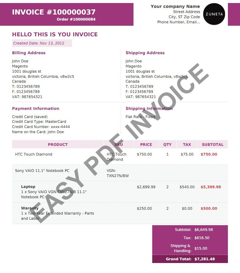 Magento Pdf Templates Change The Look Of Your Invoice Layout