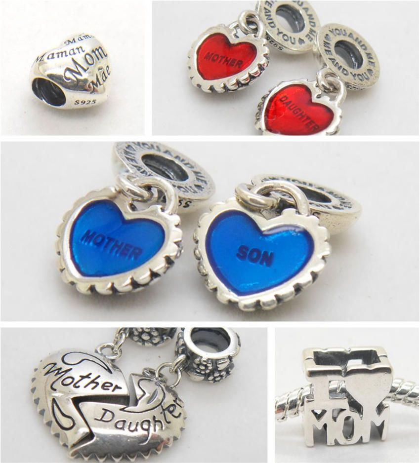 I love mum mother son daughter lovely heart silver charm