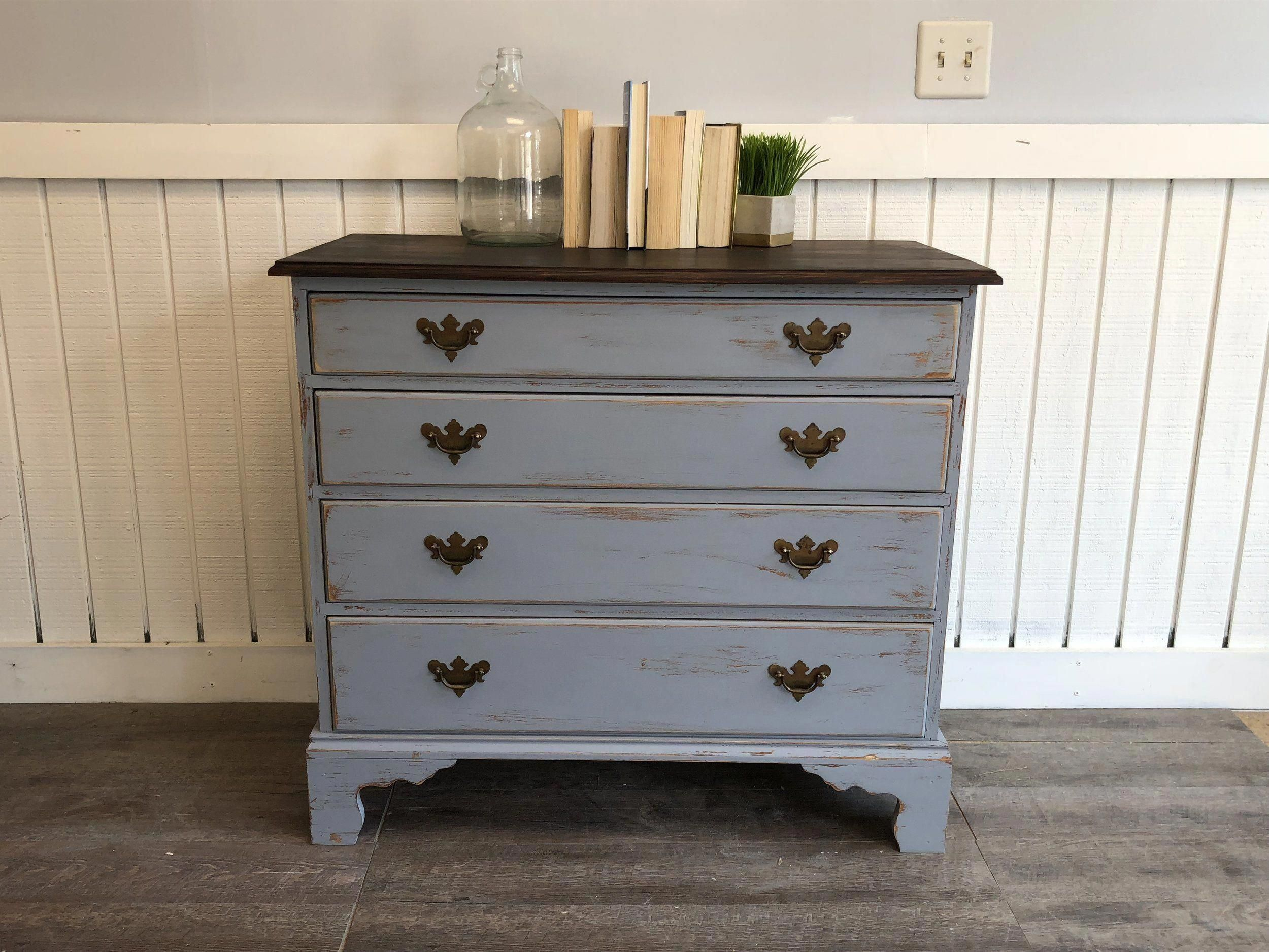 Shabby Chic Dresser Gray Distressed Chest Of Drawers Cottage Blue Grey Wood Stained Top Antique Sha Shabby Chic Dresser Shabby Furniture Shabby Chic Furniture [ 1875 x 2500 Pixel ]