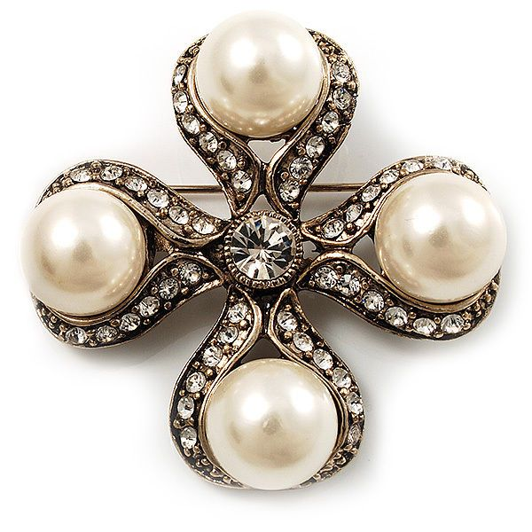 Avalaya Vintage Filigree Simulated Pearl Cross Brooch (Antique Silver) 9wKY5