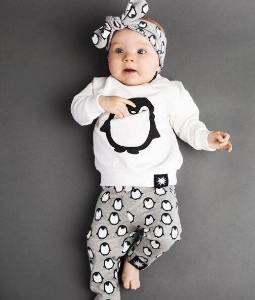 2016 New Autumn Penguin Baby Girls Boys Clothes Long Sleeve T Shirt