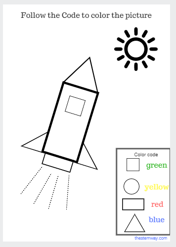 Worksheet Color With A Code The Stem Way Space Crafts For Kids Preschool Tracing Afterschool Activities
