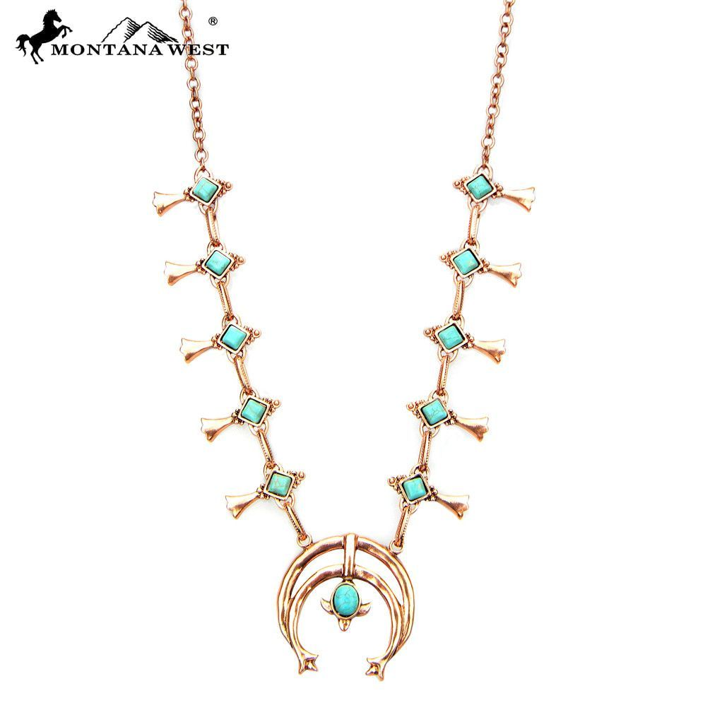 "Montana West NKY160615-01COP 24"" + 2"" Copper Color Metal Squash Blossom Necklace"
