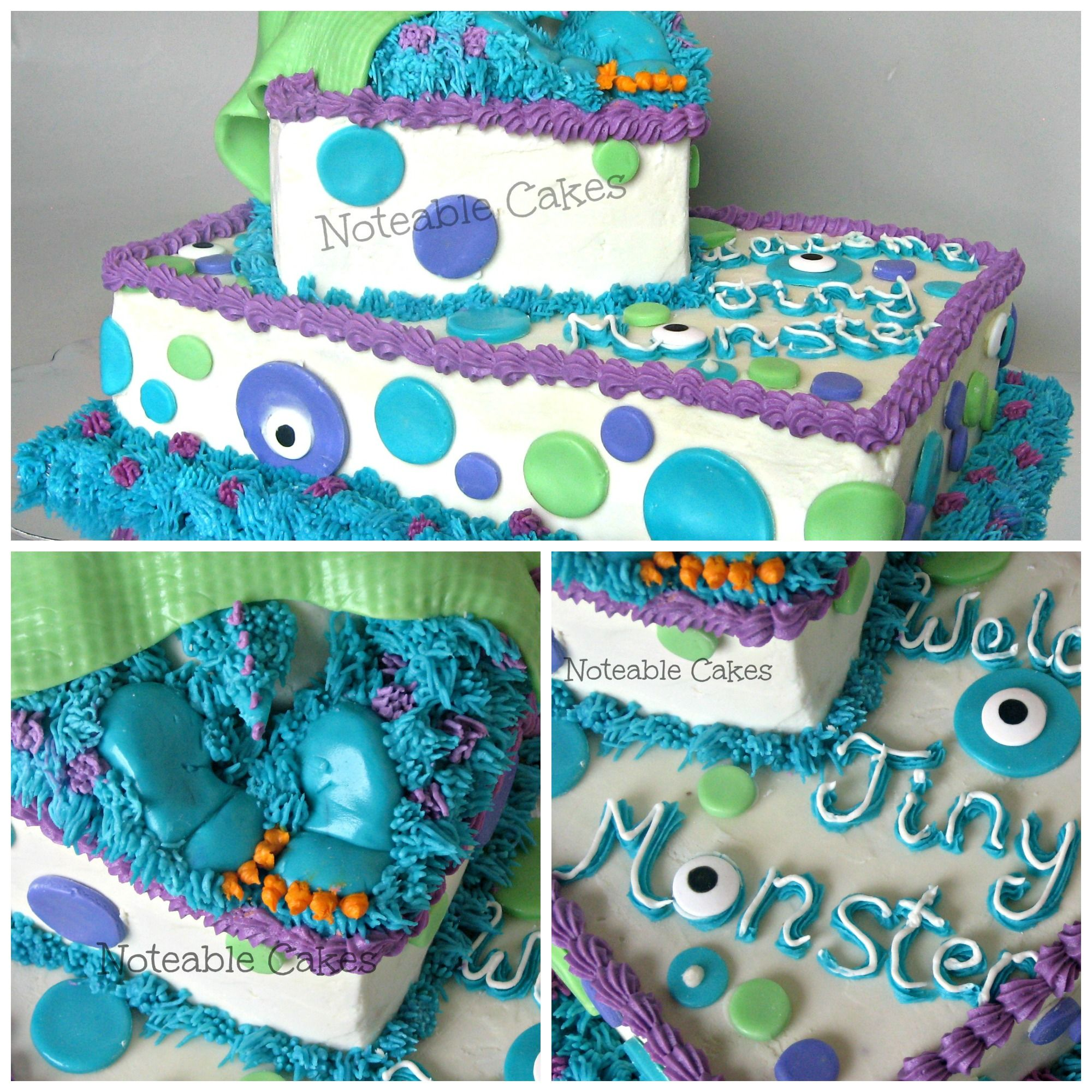 White Slab Cake With Purple Green And Blue Circles