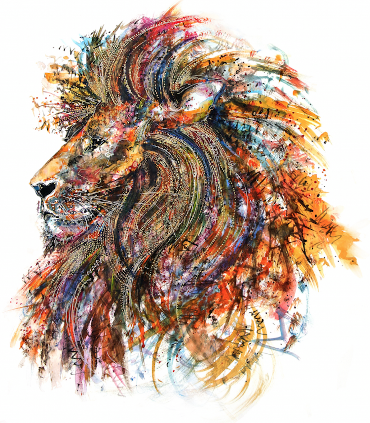 Lion Vector Draw Sketch Design Pencil Picture Lay أسد تصميم وجه رسم Lion Blog Lion Blogsl Colorful Animal Paintings Animal Paintings Colorful Paintings