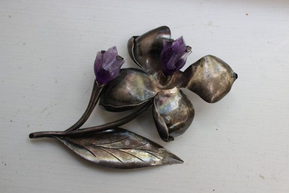 Sterling Silver Carved Amethyst Flower Brooch by Plantdreaming