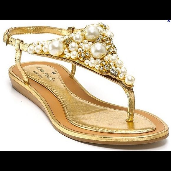 e02cafa8935 Kate Spade pearl embellished thong sandals Super cute gold with pearl  sandals! kate spade Shoes Sandals