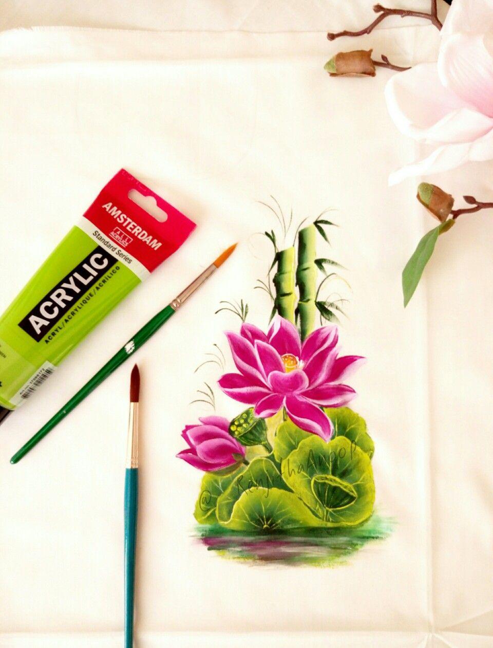 Fabric Paintings Simple Lotus Design Lotus Painting Lotus