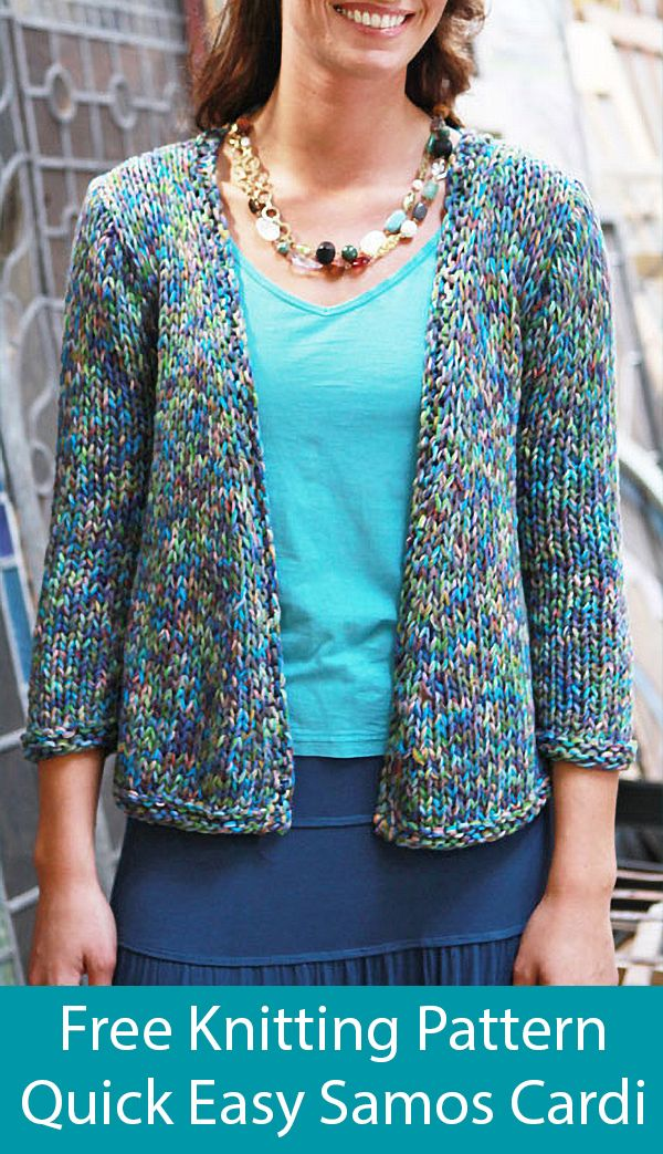 Free Knitting for Quick Easy Samos Cardigan #knittedsweaters