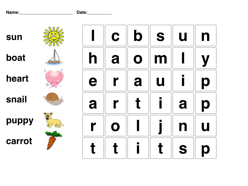 Kindergarten Word Search – Puzzles for Kindergarten Worksheets
