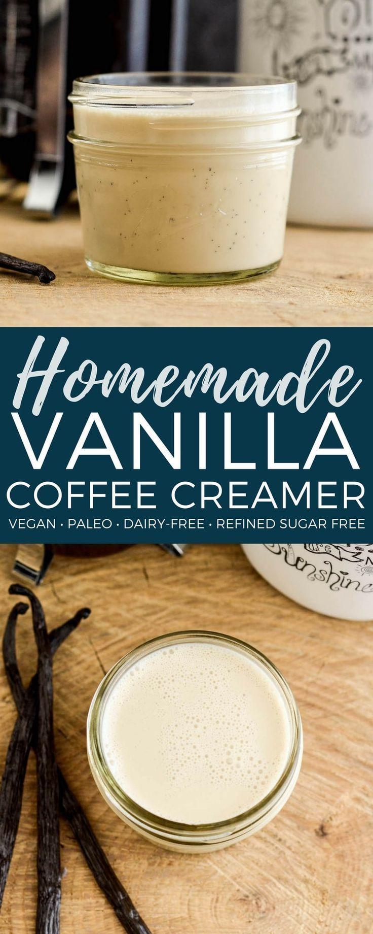 Homemade paleo vanilla coffee creamer a 4 ingredient