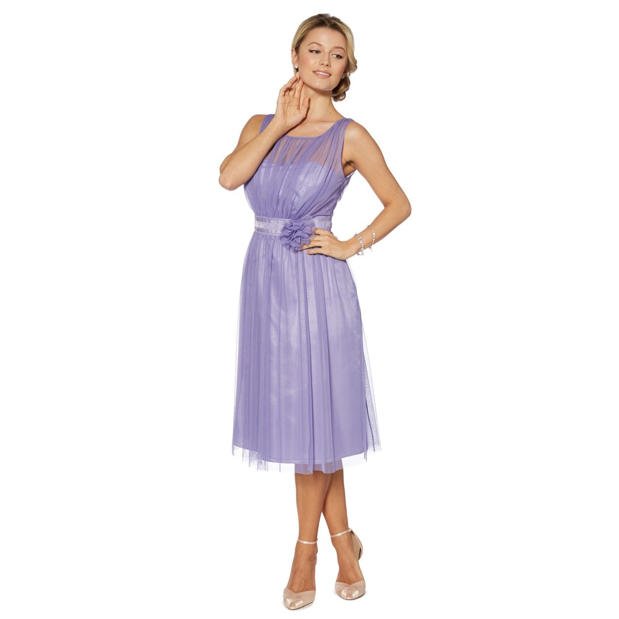 Debut Lilac mesh build corsage midi dress- at Debenhams.com ...