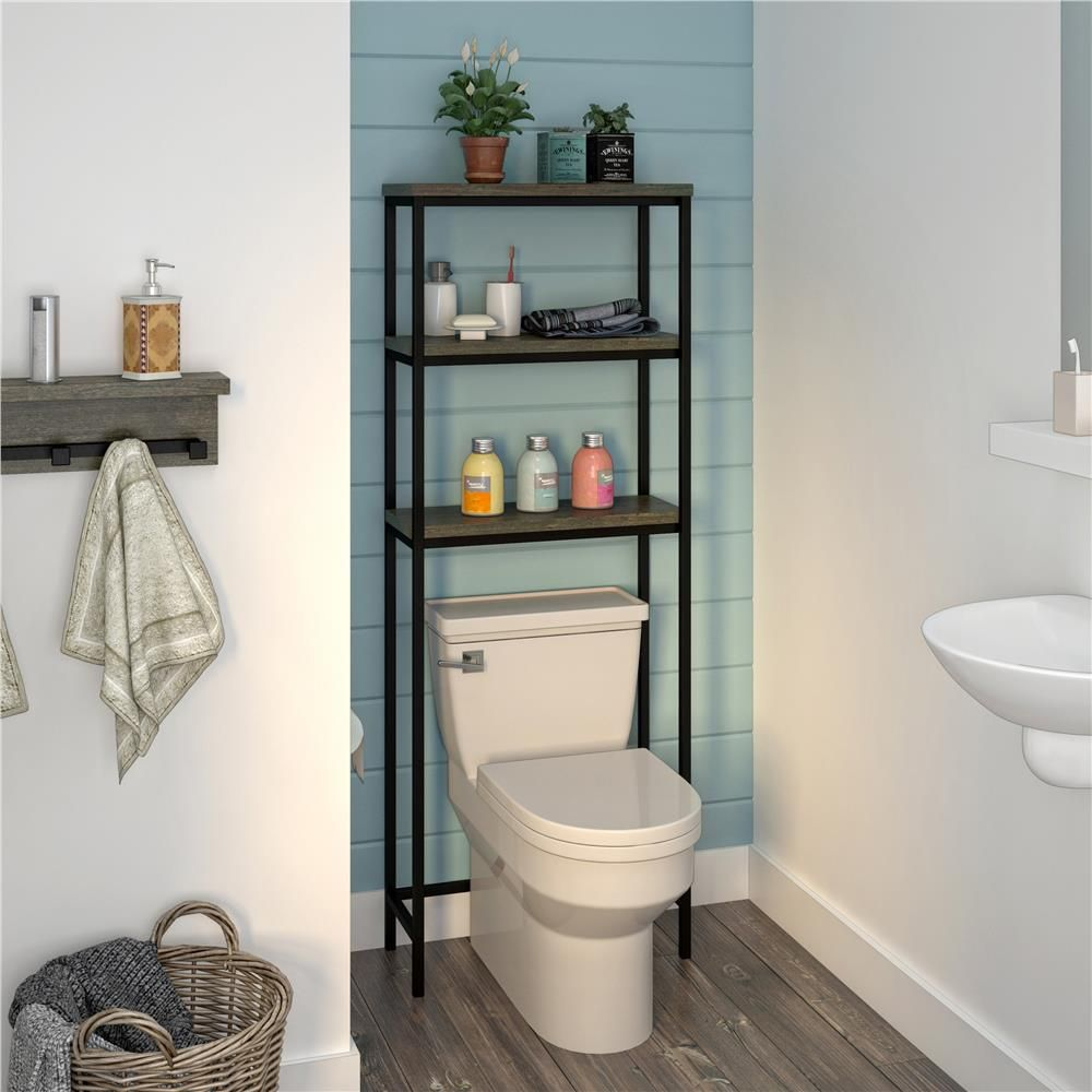 Systembuild Yellowstone 24 In W Over The Toilet Storage Cabinet In Weathered Oak Hd08453 The Home Depot Toilet Storage Small Bathroom Storage Over Toilet Storage [ 1000 x 1000 Pixel ]