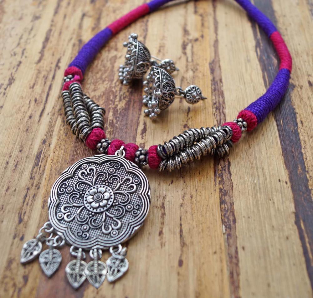 Handmade Purple Choker Style Necklace Set