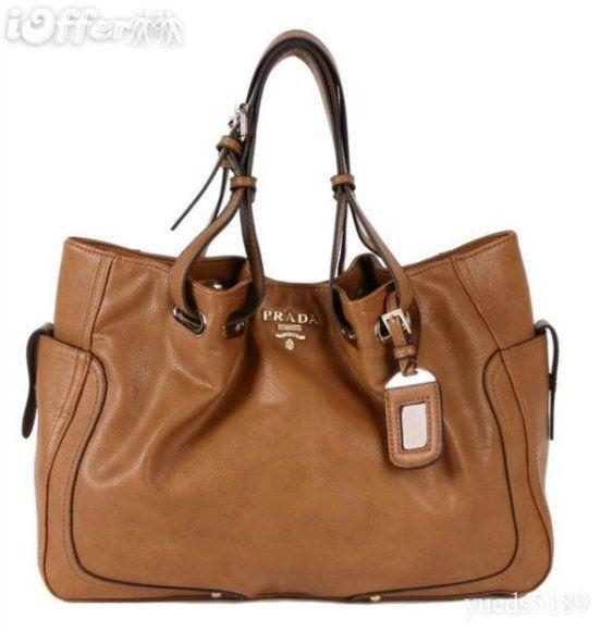 Ioffer Classic Prada Siegel Leather Shoulder Handbag For