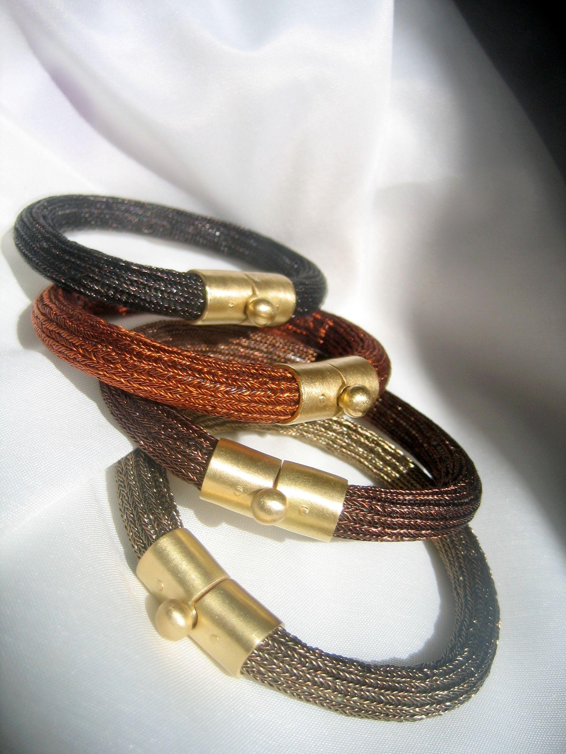 Wire crochet bracelet with k gold lockchunky braceletmodern