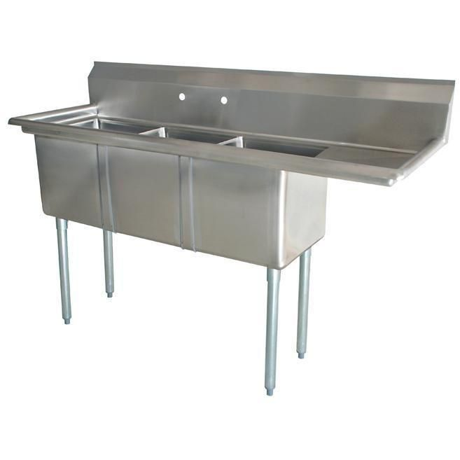 Stainless Steel 3 Compartment Sink 60 5 X 22 With 14 Right