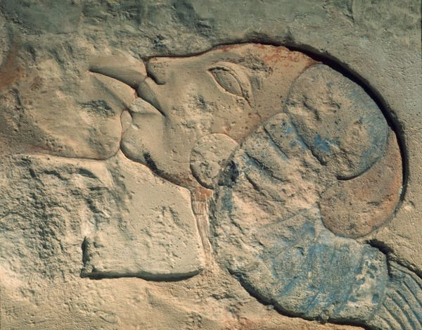 A detail of a relief showing Nefertiti kissing her daughter, perhaps Meritaten, under the rays of the Aten.